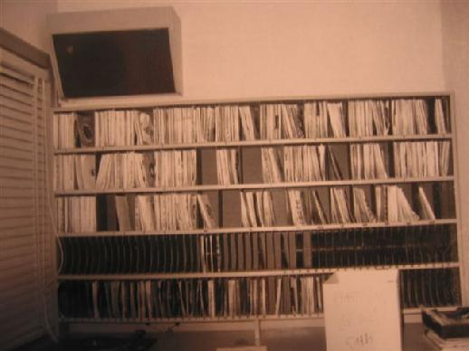 Shot of Johnny Canton's desk area at WDGY-AM when he was the music director.