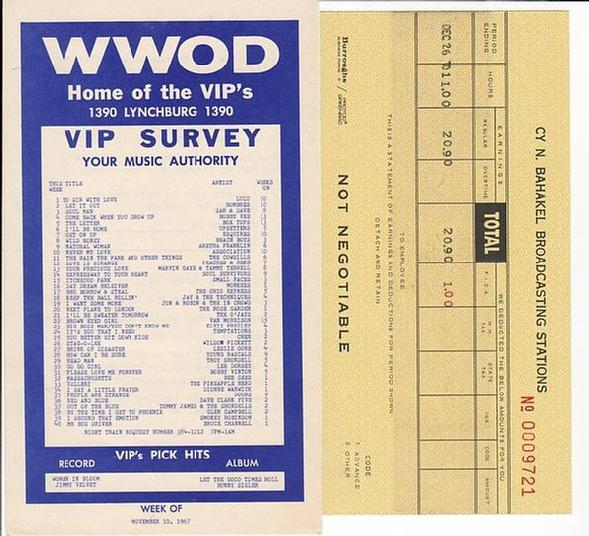 WWOD-AM Music Survey Novemeber 1967